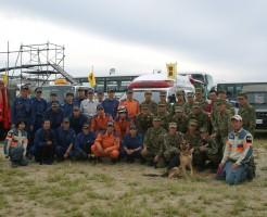 自第36普通科連隊・池田市消防本部・日本レスキュー協会合同訓練