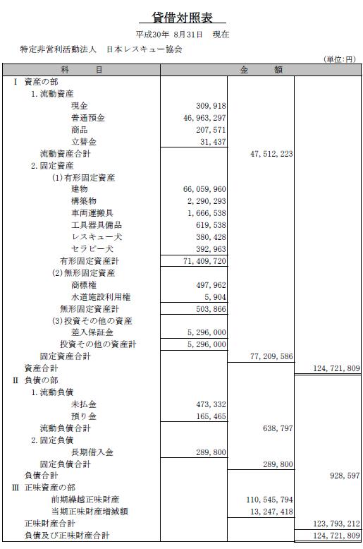 平成29年度貸借対照表